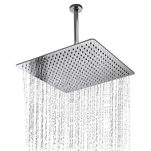 Rain Shower Head, NearMoon Super Large Hotel Stainless Steel Rainfall Showerhead, Ultra Thin Waterfall Bath Shower Body Covering with Silicone Nozzle and Powerful Spray Performance (16'' - Ceiling Rainshower Head Mount