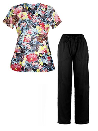 [G Med Women's Printed Mock Wrap Top and Pant 2 PC Scrub Set(SET-MED,BLKB3-S)] (Black Perforated Top Bottom)