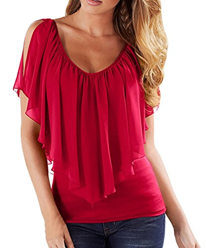 Bepo Women's Summer V Neck Plus Size Off-shoulder Loose Blouse Tops (Plus Size Online)