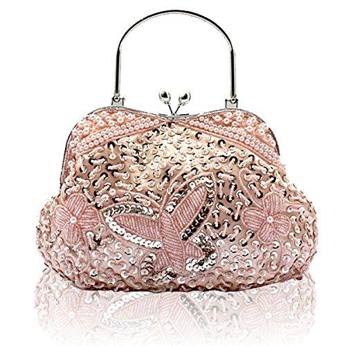 NBAG Estilo Clásico Nacional De Las Mujeres Cheongsam Bag Princesa Holding Bolsa De Noche Portátil Retro Con Cuentas Bolsa De Novia Paquete De Vestido De Dama De Honor,Silver Pink