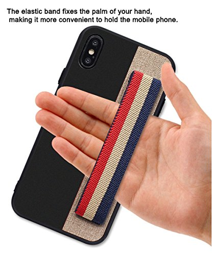 Phone Case for iPhone X Protective Case with Grip Band iPhone Grip Handle Case for Secure Texting/Photos/Selfies- Stylish One-Handed Case (Black)
