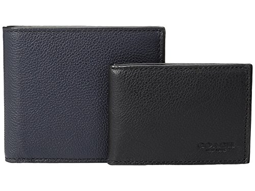 (COACH Men's Leather 3-in-1 Wallet Set Midnight/Black One Size)
