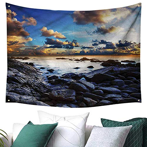 Ocean Square Tapestry Full Moon Dark Clouds 84W x 70L Inch,Home Decorations for Living Room Bedroom