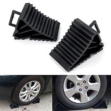 2 antideslizante antideslizante vehículo coche camión rueda, neumáticos neumáticos cuña Stop bloque negro Universal: Amazon.es: Coche y moto
