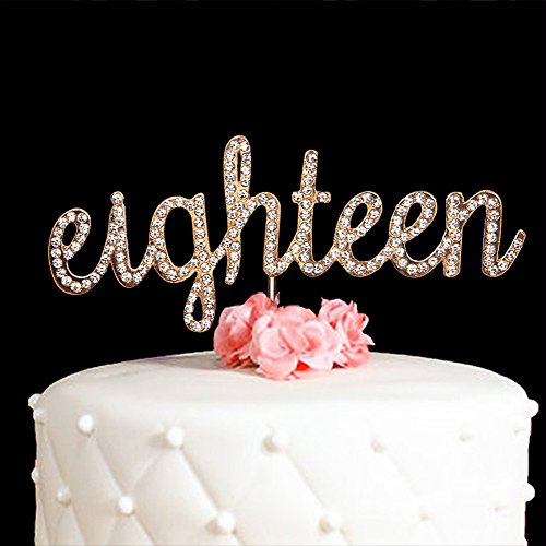 Hatcher lee Eighteen Cake Topper for 18 Years Birthday Or 18TH Wedding Anniversary Gold Crystal Rhinestone Party Decoration (Gold) by Hatcher lee