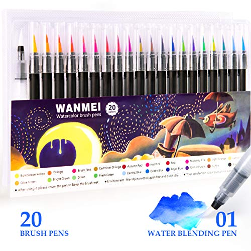 Watercolor Brush Pens - 20 Color Painting Pens with Flexible Fiber Brush Tips for Drawing, Coloring, and Calligraphy - Water-Based Ink Pen Set for Professionals and Beginner Painters