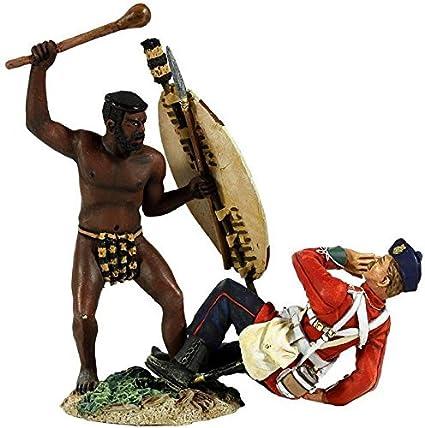 """Zulu Warrior Attacking British 24th Foot w//Knobkerri W Britain /""""Overwhelmed/"""""""