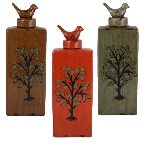 Three Colors 16.25 x 5.75 x 3.6 Multicolor Entrada EN110517 Ceramic Decorative Jar