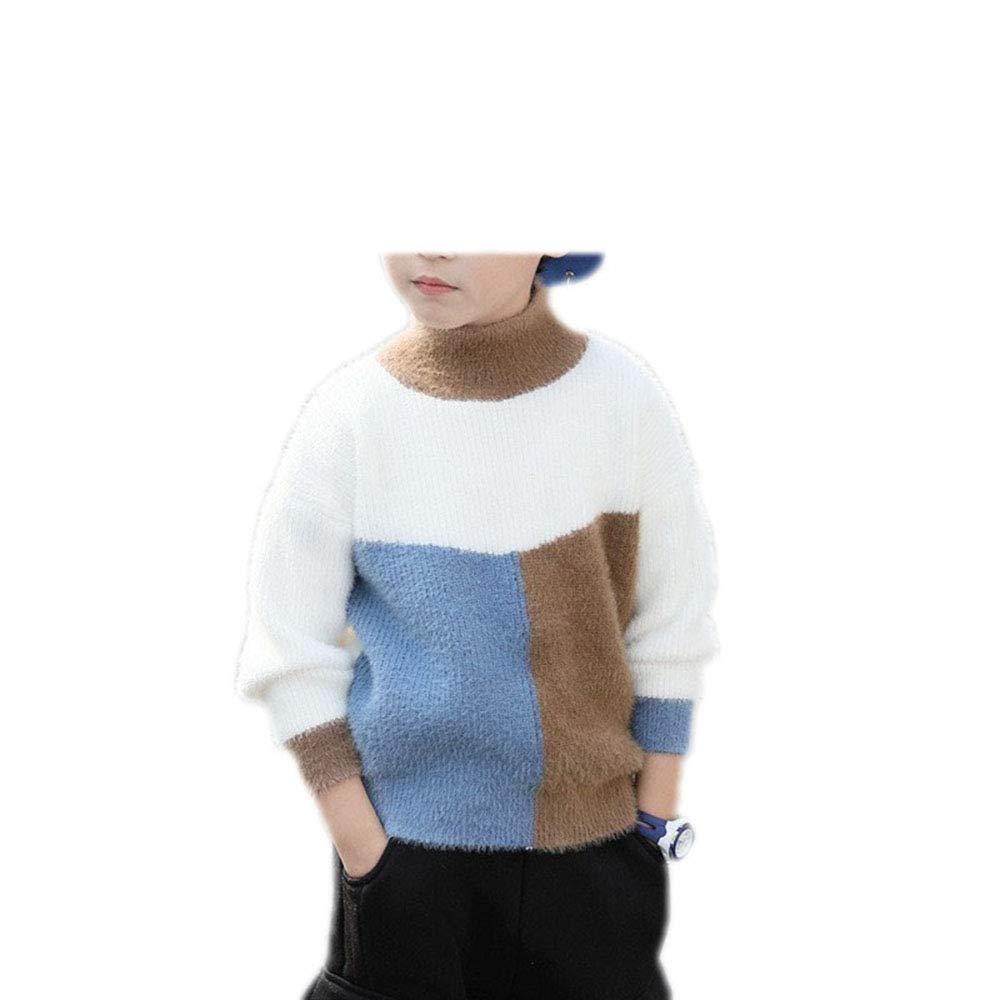 MZjJPN Children's Woolen Patchwork Sweaters Kids Winter Turtleneck Knit Warm Sweater Baby Big Boys Pullovers Blue 6