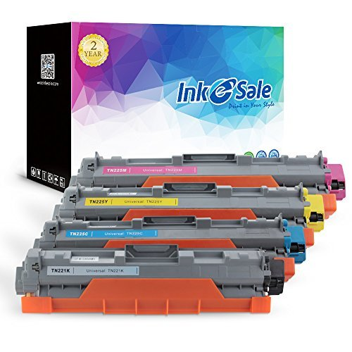 INK E-SALE Compatible Toner Cartridge Replacement for Brother TN221 TN225 TN-221 TN-225 (KCMY, 4-Pack), for use with Brother HL3170CDW HL-3170CDW, HL3140CW HL3180CDW, MFC9130CW MFC9330CDW MFC9340CDW ()