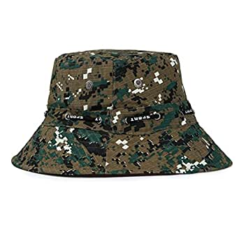 c51b885a903 Summer Outdoor Boonie Hunting Fishing Safari Bucket Hat Sun Hat with  Adjustable Strap Mens (ArmyGreen