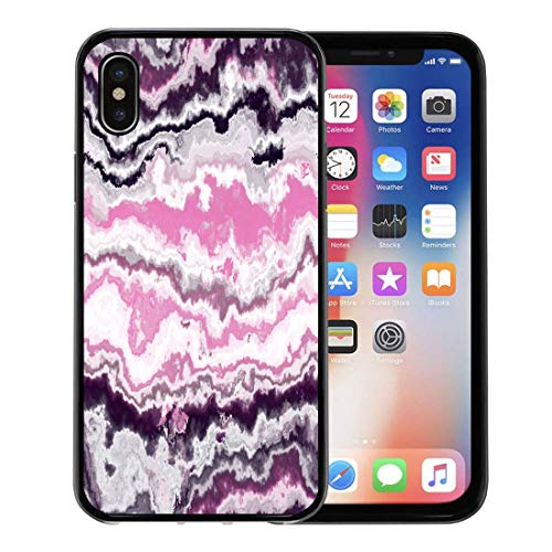 Emvency Phone Case for Apple iPhone Xs case,Pink Marble Gem Stone Pattern Agate Onyx Cloud African Aluminosilicate for iPhone X Case,Rubber Border Protective ()