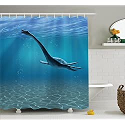 Ambesonne Dinosaur Shower Curtain Jurassic Decor, Aquatic Dinosaur The Elasmosaurus Bathroom Curtains Blue Cretaceous Period Design Theme Polyester Fabric Set with Hooks, Blue Teal