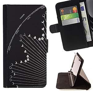 For Samsung Galaxy Note 3 III Case , Fase Hososcope Gris Astronomía- la tarjeta de Crédito Slots PU Funda de cuero Monedero caso cubierta de piel