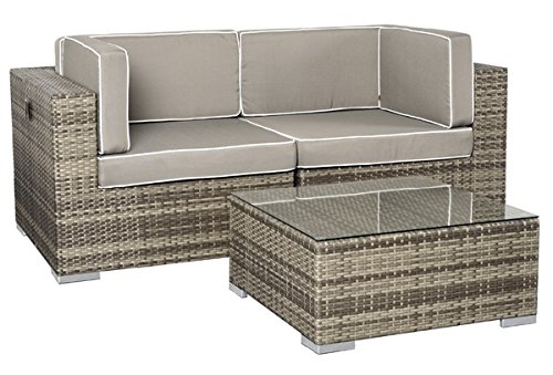 rattan lounge espace exclusive set 2 6 sitze inkl kissen farbe grau meliert g nstig online. Black Bedroom Furniture Sets. Home Design Ideas