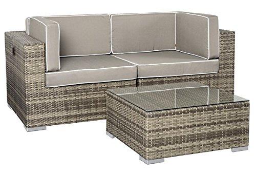 Rattan Lounge Espace Exclusive Set 2 - 6 Sitze inkl. Kissen - Farbe: Grau meliert