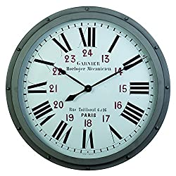 Derby Garnier Decorative Wall Clock, Vintage Unique Wall Clock for Outdoor and Home Decor, Gray