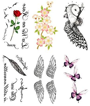 Oottati 6 Hojas Pequeño Lindo Tatuaje Temporal Tattoo Rosa, Rosa ...