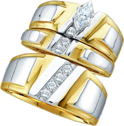 10K White Gold Two Tone Marquise Diamond Solitaire Trio Set 1/4 Cttw