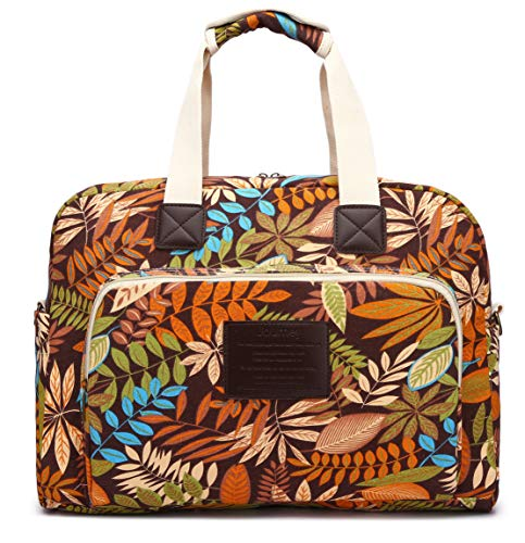 - Malirona Canvas Overnight Bag Women Weekender Bag Carry On Travel Duffel Bag Floral (Maple leaf)