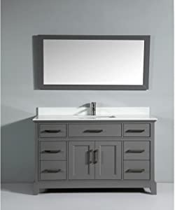 Vanity Art 60 Inches Double Sink Bathroom Vanity Set White Super Phoenix Stone Top 5 Dove-Tailed Drawers 2 Shelves Undermount Rectangle Sink Cabinet with Free Mirrors VA1060-DG