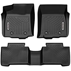 OEDRO Floor Mats Compatible for 2018-2019 Toyota Tacoma Double Cab, Unique Black TPE All-Weather Guard Includes 1st and 2nd Row: Front, Rear, Full Set Liners