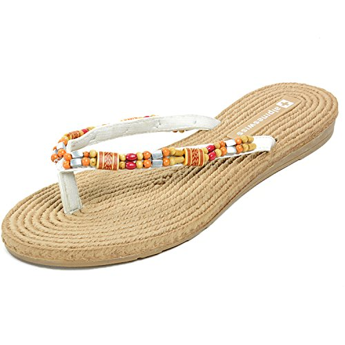 Alpine Swiss Womens Bohemian Padded Comfort Flip Flop Thong Sandals White 10 M - Sandal Womens Comfort