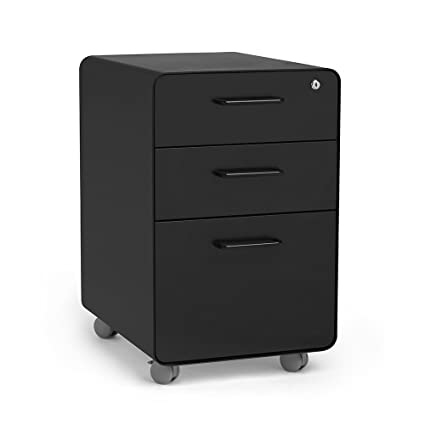 Superieur Poppin Black Stow Rolling 3 Drawer File Cabinet, Available In 10 Colors,  Legal