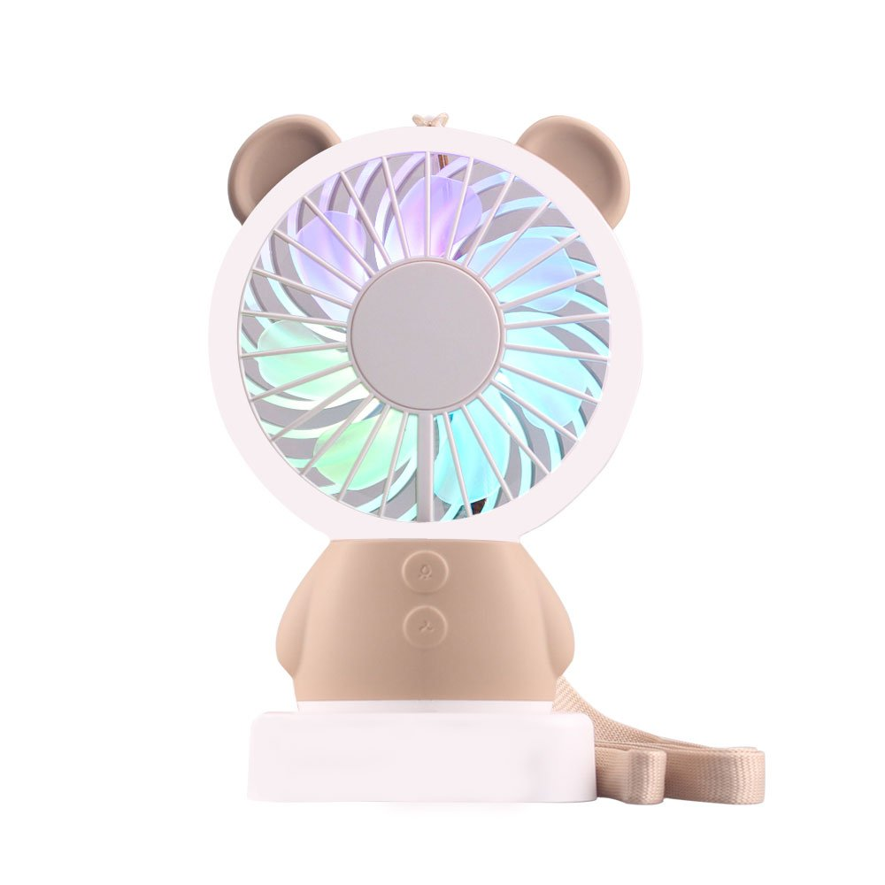 Moppson Mini Handheld Fan, USB Battery Operated Rechargeable Personal Portable Desk Cooling Fan 2 Adjustable Speeds with LED Light and Removable Base for Home Office Travel Camping (Brown) ZAIWAN