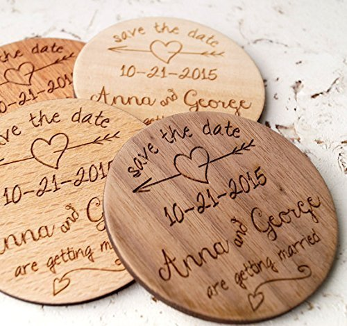 Wooden save the dates save the date save the date magnets wedding save the dates rustic save the date custom laser engraved magnets 25 or 30 mixed set