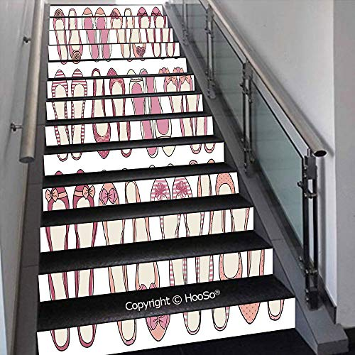 PUTIEN Creative Decorative 3D Self-Adhesive Stair Riser Decal - Stair Stickers Decals Wallpaper for Home Decoration,Halloween Symbols Trick or Treat Bat Tombstone Ghost Candy S,39.3