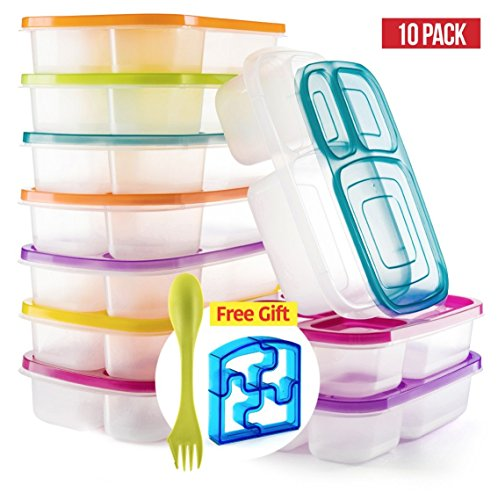 Bento Lunch Box 3 Compartment Food Containers – Set of 10 Storage meal prep Container Boxes– Ideal for Adults, Toddler, Kids, Girls, and Boys – Free 2-in-1 Fork/Spoon & Puzzle Sandwich Cutter by Perfect Fit