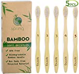 5pcs Sprmal Bamboo Toothbrushes 100% Natural Organic Biodegradable and Vegan Bamboo Soft BPA Free Nylon Bristles For Sensitive Gums