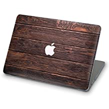 ZIZZDess Macbook Wood Case For Macbook Pro 15 Case 2016 2017 Brown Full Hard Cover for Notebook New Apple Mac Pro 15 Inch Model A1707 with Touch Bar (Dark Wood)