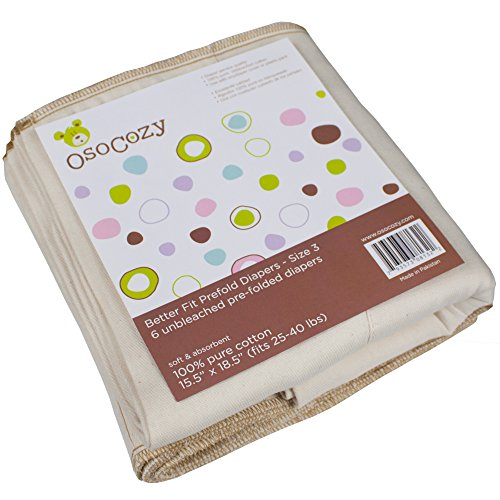 Prefold Diapers Folding - Osocozy Unbleached Better Fit Prefolds - Toddler 4x8x4-6 Pack (25-45 lbs)