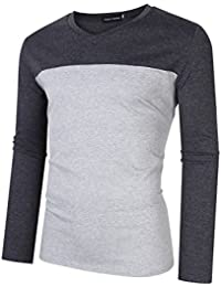 """<span class=""""a-offscreen"""">[Sponsored]</span>Men's Active Wear Cotton Tops Contrast Color Stitch Sweetheart V Neck Slim Fit Long Sleeve Basic T Shirt"""