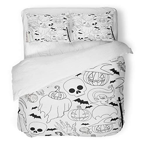Tarolo Bedding Duvet Cover Set Black and White Halloween Pattern Vampire Girl Ghost Pumpkin in Hat Zombie Hand Bat Death Scythe Cartoon Sketch 3 Piece Twin 68