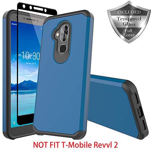 T-Mobile Revvl 2 Plus Case, Alcatel 7 Folio Case, Alcatel 7 Case, SWODERS Heavy Duty Hybrid Armor Shockproof Anti Slip with Tempered Glass Screen Protector Case for Revvl 2 Plus - Blue