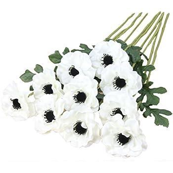 Amazon single artificial white anemone silk white anemone 518nujmalalsl500acss350g mightylinksfo