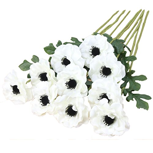 Htmeing 10pcs Artificial Anemone Full Blooming Flower Bushes with Green Foliage for Mother's Day or Decoration for Home, Restaurant, Office & Wedding (White) ()