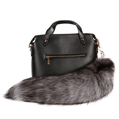 URSFUR Silver Blue Fox Tail Fur Keychain Bag Charm - Keychain Clip Silver