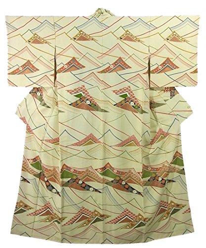試してみる悪性の手順リサイクル 着物 付下小紋 正絹 袷 重ねた色紙模様 裄65cm 身丈161cm