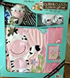 Little Miracles Cute & Cuddly 3 Piece Baby Girl Gift Set Zebra Pink & Black