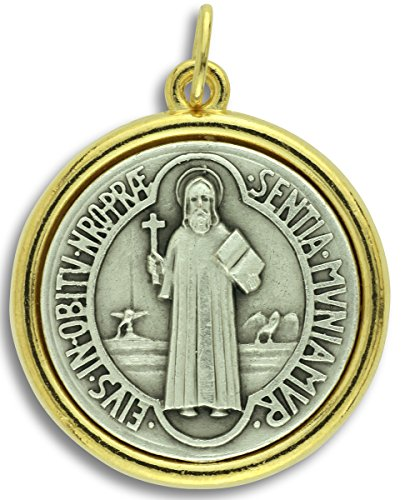 Lot of 2 St. Benedict Large Medal Pendant Charm 1 1/2 H X 1 1/4 W Two Tone Finish Catholic Made in Italy