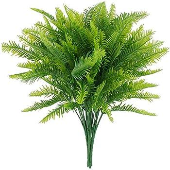 CLONG Artificial Plants Boston Fern Bush Fake Plastic Greenery Shrubs Fern Grass Bushes Flowers Filler Nephrolepis Exaltata Indoor Outside Home House Garden Office Bonsai Decor - 4pcs