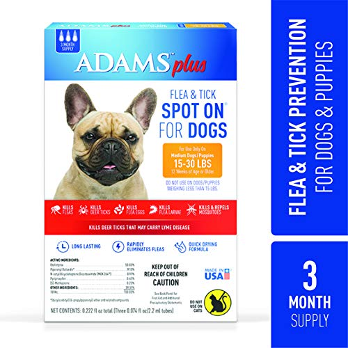 Adams Plus Flea and Tick Spot On for Dogs, Medium Dog Flea Treatment, 15-30 Pounds, 3 Month Supply