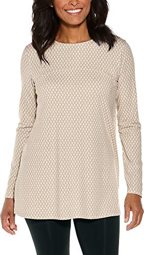 (Coolibar UPF 50+ Women's Daybreak Swing Top - Sun Protective (XX-Large- Taupe Etched Diamonds))