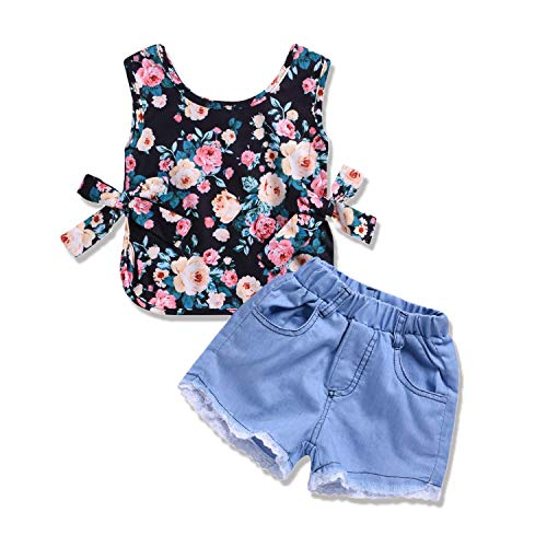 (HESHENG 2Pcs Toddler Baby Kids Girl Clothes Flower Sleeveless T-Shirt Top + Denim Jeans Pants Short Outfit Set (Flower, ♛Size:110♛ 2-3Y))