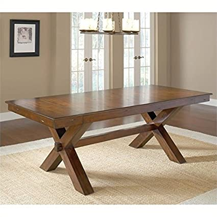 Amazon Com Bowery Hill Extendable Trestle Dining Table In Dark