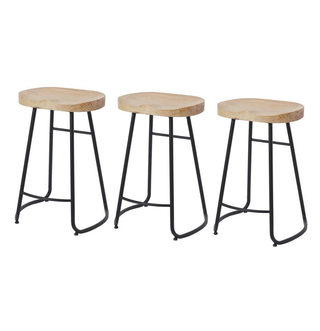 FH ヴィンテージウッドトップメタルバースツールヴィンテージアンティークデザイナーバーデザイナースツールインダストリアルスタイルバーバースツール2/3/4 A + (色 : Set of 3, サイズ さいず : Sitting height65cm) B07RTTC3RM Set of 3 Sitting height65cm